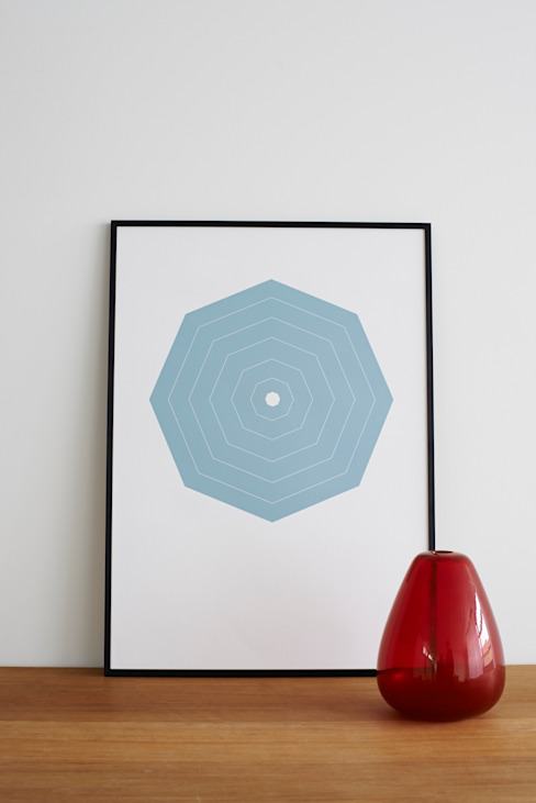 Blue Octagon Hand Pulled Screen Print: modern  by Lane, Modern