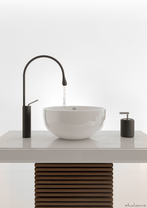 virtual set gessi lavabo + miscelatore goccia di studioviro Moderno