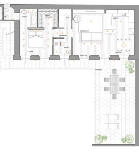 Pianta appartamento di Elisa Rizzi architetto Minimalista