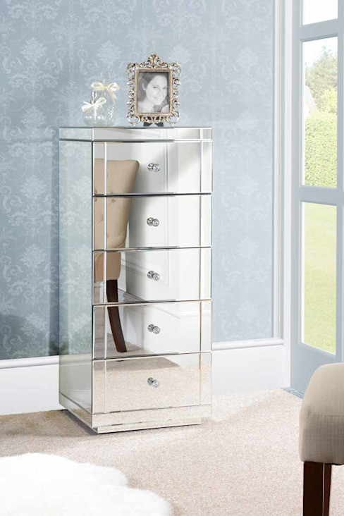 Julianna Mirrored Tallboy Chest with 5 Drawers and Plinth de My Furniture Clásico