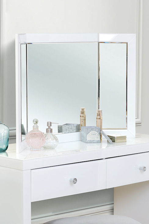 Colleta White Triple Folding Mirror von My Furniture Klassisch Glas