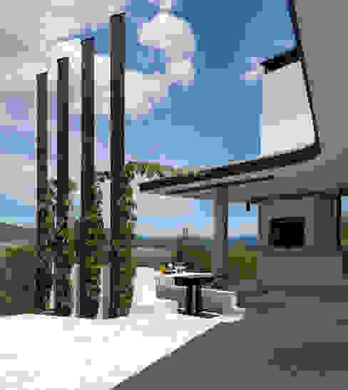 Fishing Lodge, Bulgaria Rustic style balcony, veranda & terrace by Simon Gill Architects Rustic