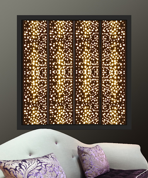 Black window shutters with lights in  perforated circles design: modern  by Mirror & Light Shutters, Modern Metal