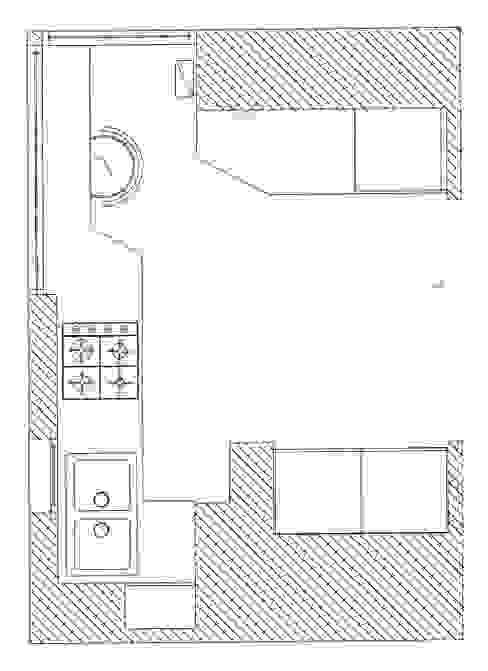 pianta di progetto Cucina moderna di My Home Attitude - Barbara Sala Moderno MDF