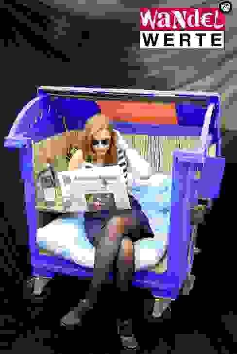 Sessel aus ausrangiertem Abfallbehälter von Wandelwerte e.V. Ausgefallen Kunststoff Braun