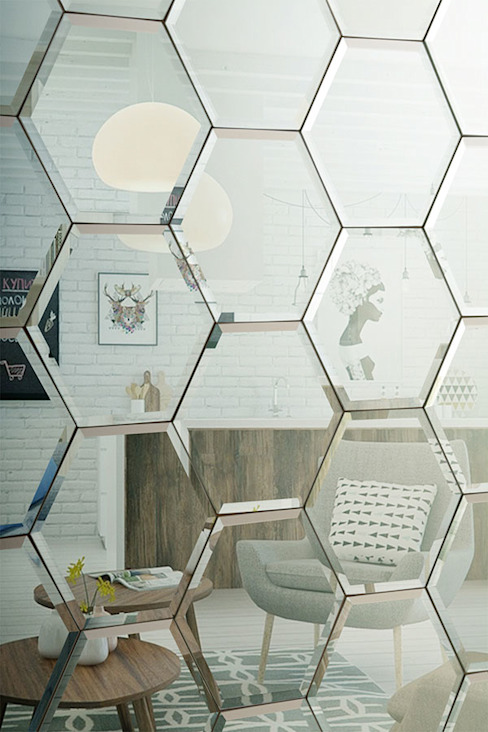 Hexagonal Silver Mirrored Bevelled Wall Tiles: modern  by My Furniture, Modern