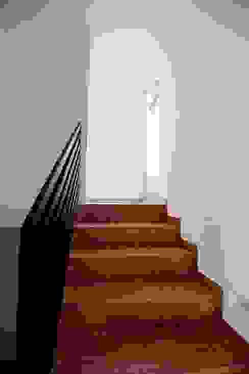Couloir, entrée, escaliers minimalistes par JF ARQUITECTOS Minimaliste