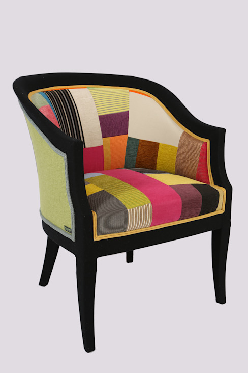 Colour Block Chair: modern  by Studio180°, Modern Textile Amber/Gold