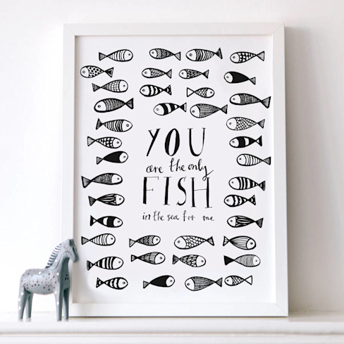 You are the only fish in the sea print: scandinavian  by Karin Åkesson Design, Scandinavian Paper