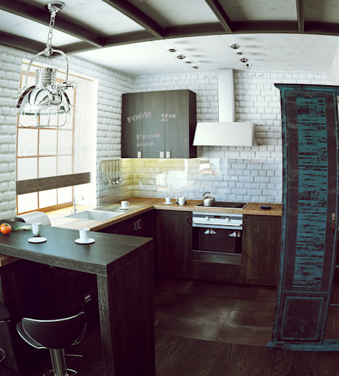 Industrial style kitchen by Valeria Ganina Industrial