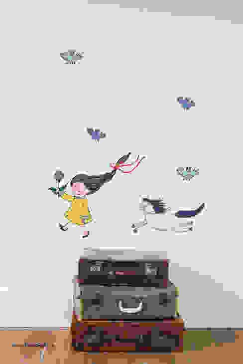 """Set Wandaufkleber """"Mädchen mit Pferd"""" Tessa Rath Illustration KinderzimmerAccessoires und Dekoration Mehrfarbig"""