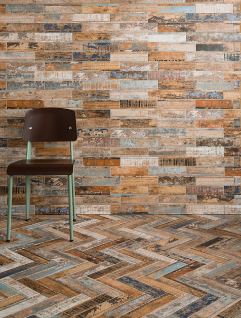Quayside Mix Distressed Wood Effect Tiles por The London Tile Co. Rústico