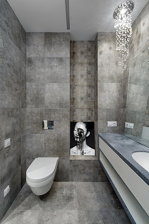 Olga Kravchuta design Minimalist style bathroom Grey