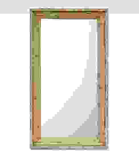 Specchiera indiana bianca in legno di teak Anthaus Bagno in stile asiatico Legno massello Bianco