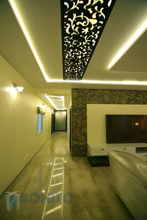 Living room passage area false ceiling design Asian style living room by homify Asian