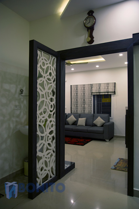CNC design door Asian style corridor, hallway & stairs by homify Asian