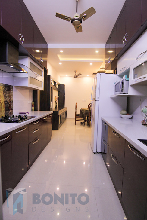 Modular parallel kitchen design Asian style kitchen by homify Asian