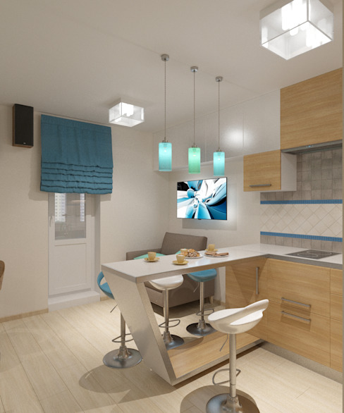 Minimalist kitchen by Студия дизайна Виктории Силаевой Minimalist