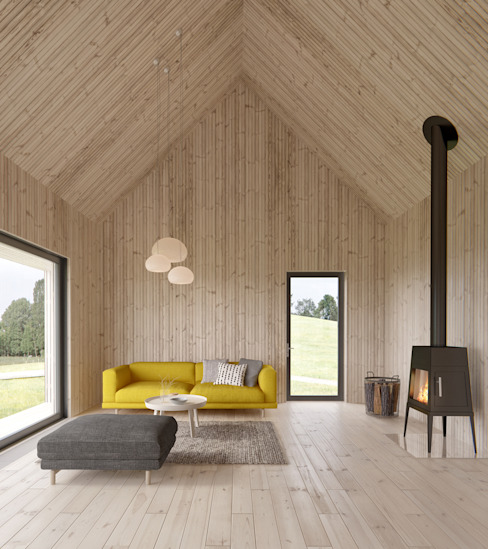 Living room by INT2architecture, Scandinavian Wood Wood effect