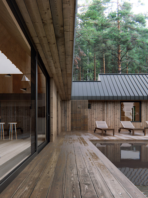 Prefabricated home by INT2architecture, Scandinavian Wood Wood effect