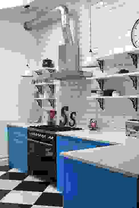 Industrial Kitchen With American Diner Feel Industrialna kuchnia od homify Industrialny Lite drewno Wielokolorowy