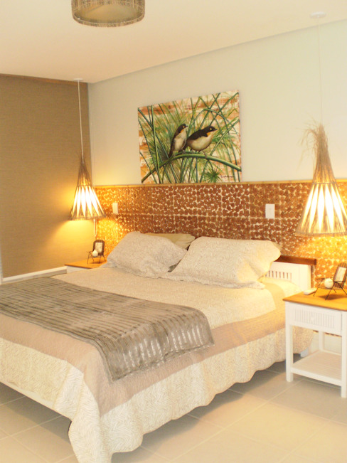 Tropical style bedroom by ANALU ANDRADE - ARQUITETURA E DESIGN Tropical