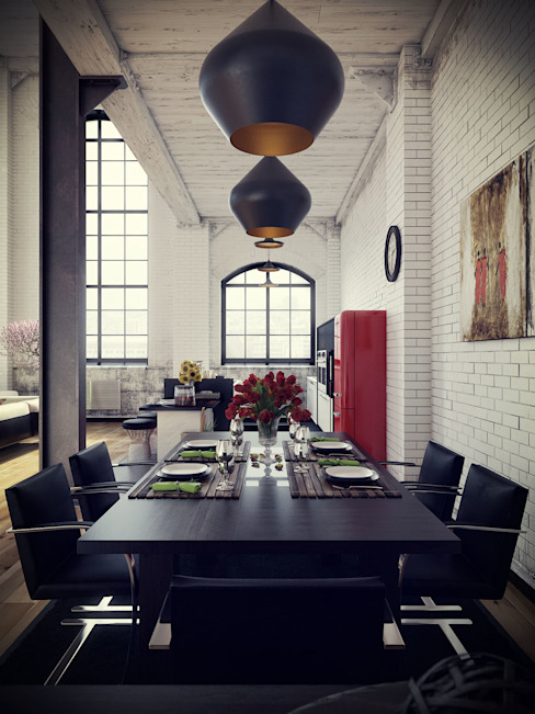 Industrial style dining room by RIP3D ARCHVIZ Industrial