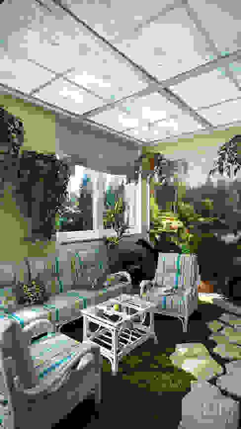 Проект 023: кухня + столовая + зимний сад Зимний сад в стиле минимализм от студия визуализации и дизайна интерьера '3dm2' Минимализм