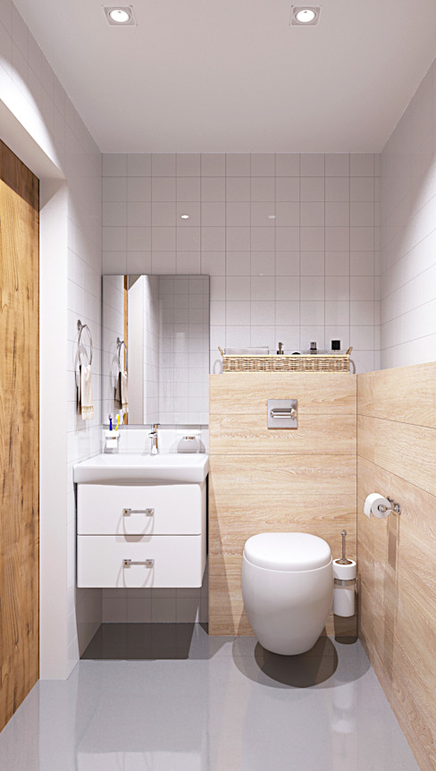 homify Scandinavian style bathroom Wood White