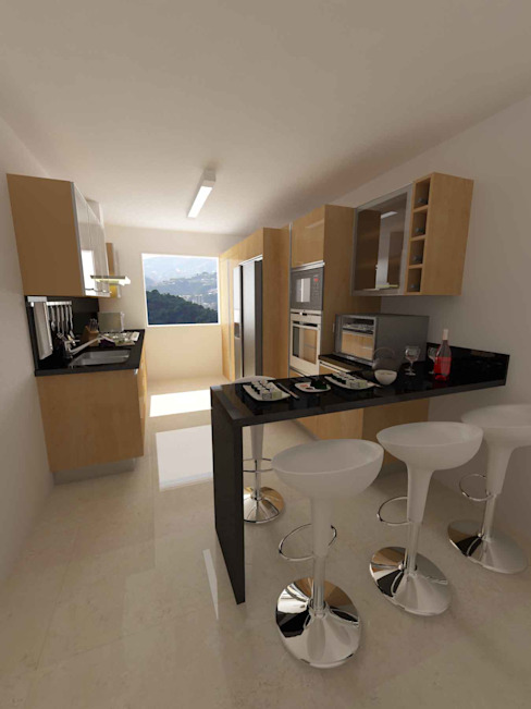 Cocinas Modelo Apartamentos EVC Cocinas de estilo moderno de OPFA Diseños y Arquitectura Moderno