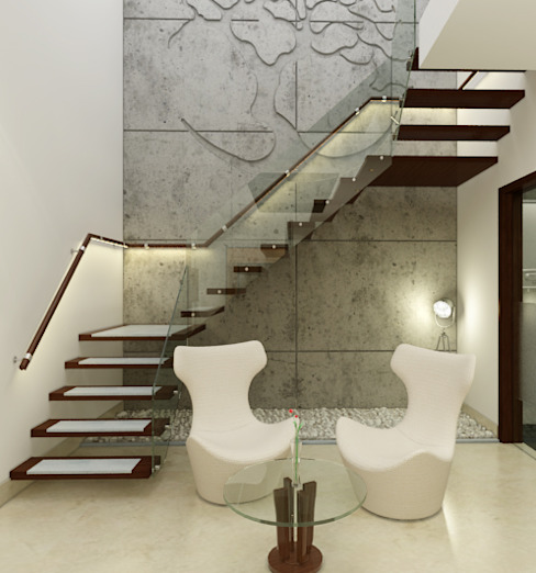 Modern corridor, hallway & stairs by Space Interface Modern