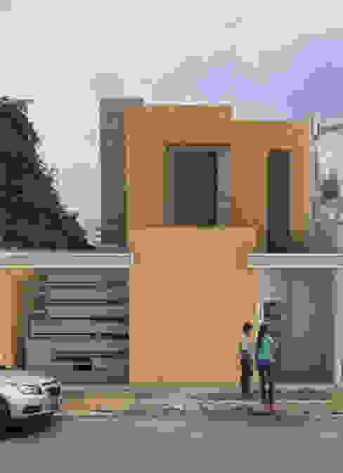 Fachada principal de vivienda unifamiliar FAMILIA SANABRIA Casas de estilo ecléctico de 3R. ARQUITECTURA Ecléctico Ladrillos