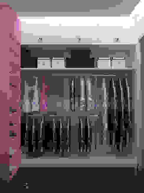Дизайн проект интерьера спальни в сиренево фиолетовых тонах Гардеробная в стиле минимализм от homify Минимализм МДФ