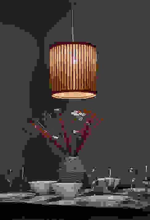 Sustainable Handmade Sylvn Studio Tambour Red Hanging Lamp: modern  by Sylvn Studio,Modern