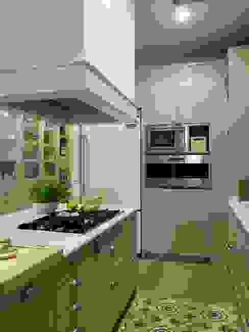 Pasillo entre la ona de aguas y la de fuegos DEULONDER arquitectura domestica Cocinas de estilo clásico Verde