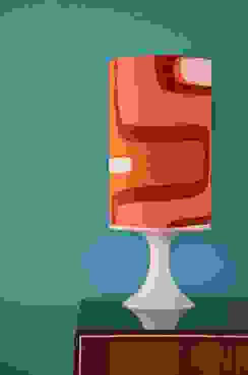 70er Tischlampe Jolanda Tuchfühlung WohnzimmerBeleuchtung Textil Orange