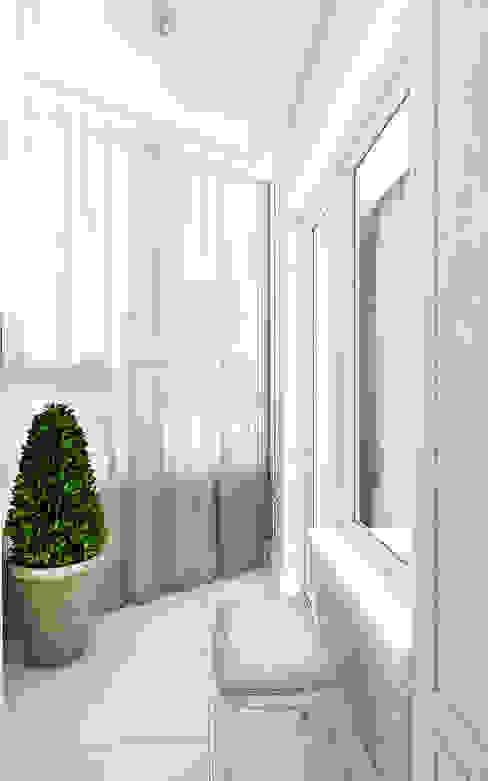 Дизайн проект балкона в квартире в Химках. Москва Балкон и терраса в стиле минимализм от homify Минимализм Текстиль Янтарный / Золотой