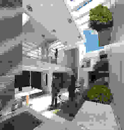 Vista desde nivel planta baja al solárium, pergola y terraza piso 1. Vivienda Nº11. Mañongo 2014 - 2015. Balcones y terrazas de estilo minimalista de Eisen Arquitecto Minimalista