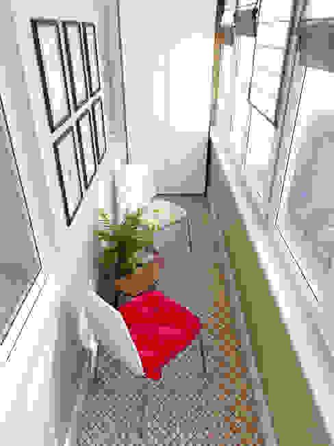 Медовая геометрия_лоджия в современном стиле Балкон в скандинавском стиле от CO:interior Скандинавский