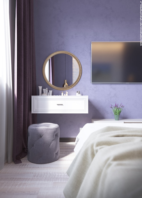 غرفة نوم تنفيذ Shevchenko_Nikolay, حداثي