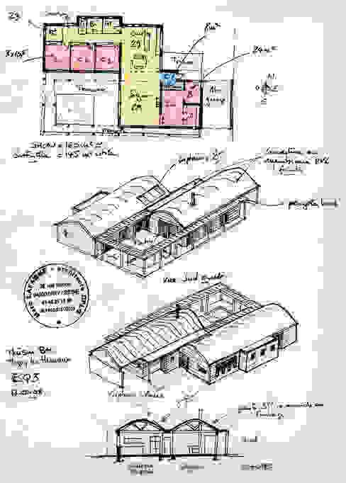 Le plan et les axonométries au stade esquisse. par Atelier d'Architecture Marc Lafagne, architecte dplg Moderne