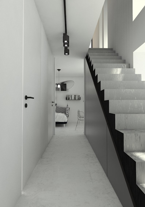 Sic! Zuzanna Dziurawiec Modern corridor, hallway & stairs Concrete White