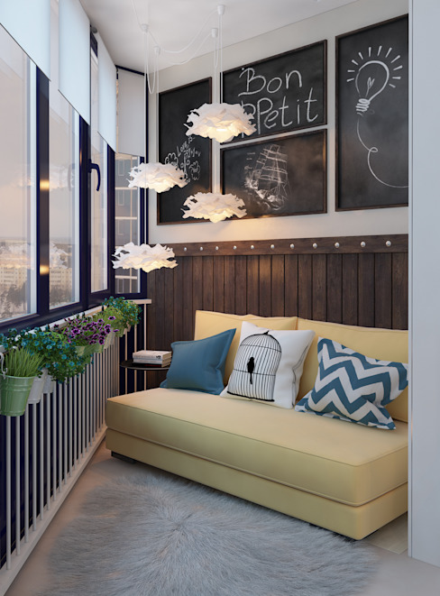 Minimalist balcony, veranda & terrace by Alyona Musina Minimalist