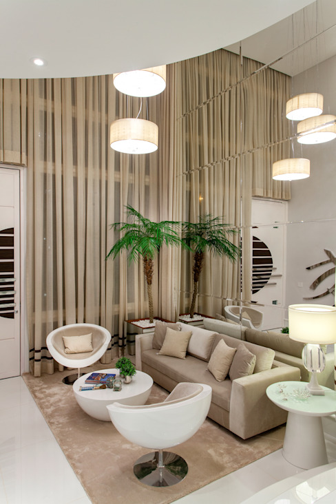 Arquiteto Aquiles Nícolas Kílaris Ruang Keluarga Modern Beige