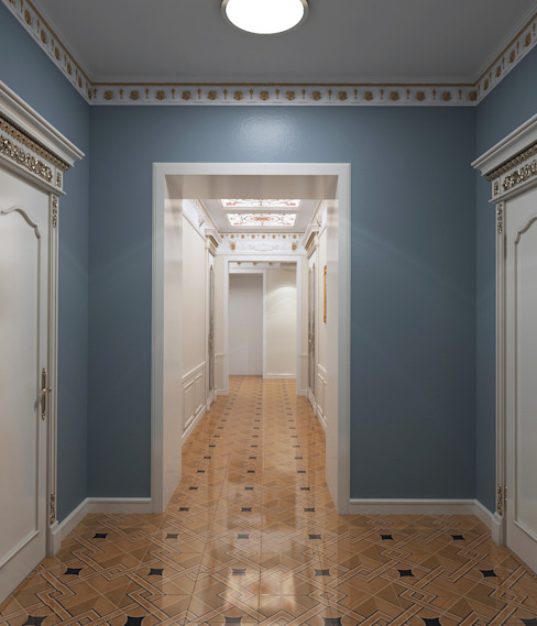 homify Classic style corridor, hallway and stairs Blue