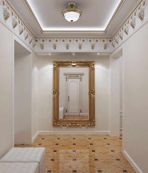 homify Classic style corridor, hallway and stairs White
