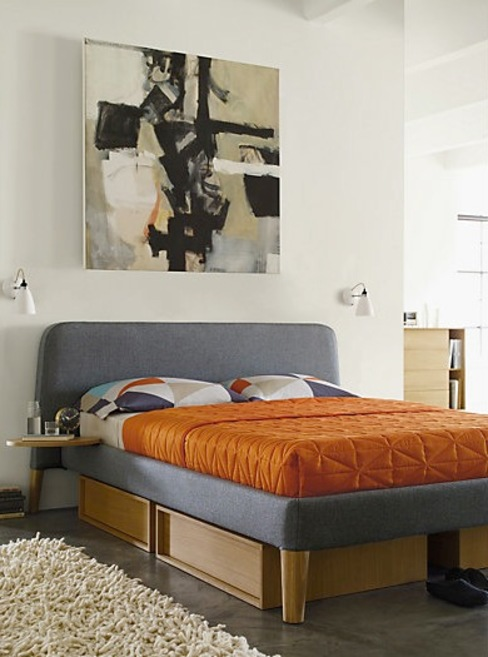 Parallel Queen Bed & Under-Bed Storage de Design Within Reach Mexico Moderno Textil Ámbar/Dorado
