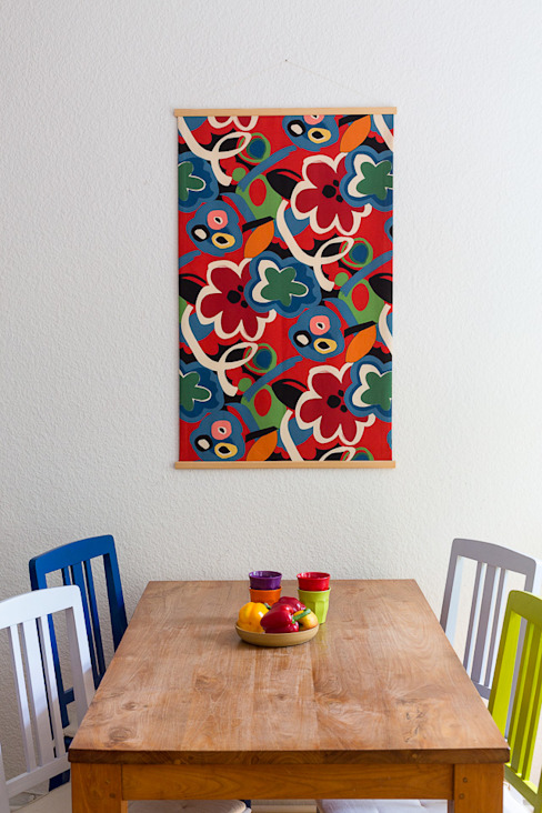 door Anhänglich, Mediterraan Textiel Amber / Goud