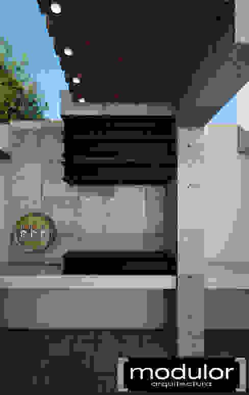 Area De Asador Balcones y terrazas modernos de Modulor Arquitectura Moderno Pizarra