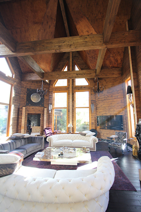 Log House Rustik Oturma Odası Orkun İndere Interiors Rustik Masif Ahşap Rengarenk